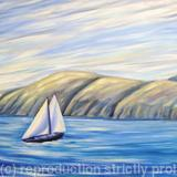 View from Easedale Island, Scotland, Sailboat - oil on canvas