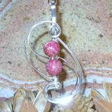 Pink Jasper Treble Cleff TC-005 - Silver-plated wire, sea sediment jasper beads