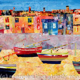 Harbour at Low Tide - acrylic collage