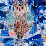 Owl on a Branch - acrylic collage