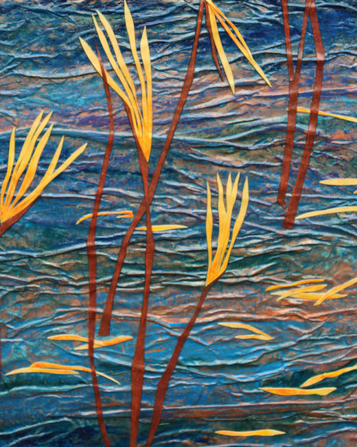 Copper Lake - detail 2 mixed media acrylic painting and oil pastel with collage	/><link rel=