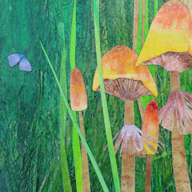 Meadow with Mushrooms detail mixed media painting	/><link rel=
