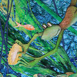 froggy's treasure - detail 1 - mixed media painting and collage