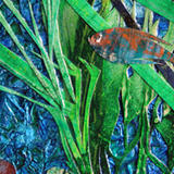 detail from Froggy's Treasure - mixed media acrylic painting and oil pastel with collage