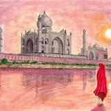 Taj Mahal from the river. - Watercolour
