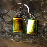 Glass Earrings Golden Forest -