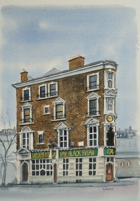 The Black Friar, Blackfriars, London. Watercolour 20x29cm