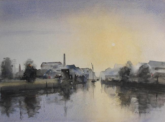 Barking Creek Watercolour 34x24cm