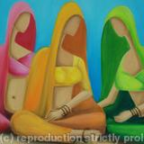 Blue Gathering - oil on canvas painting