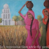 Punjabi Village Girls - painting in acrylic on canvas