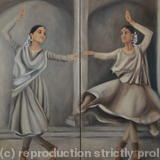Kathak dancers - oil painting on canvas dyptych