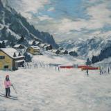 ski scene, claviere - acrylic on canvas