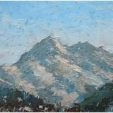 mountains near montgenevre - oil on canvas board