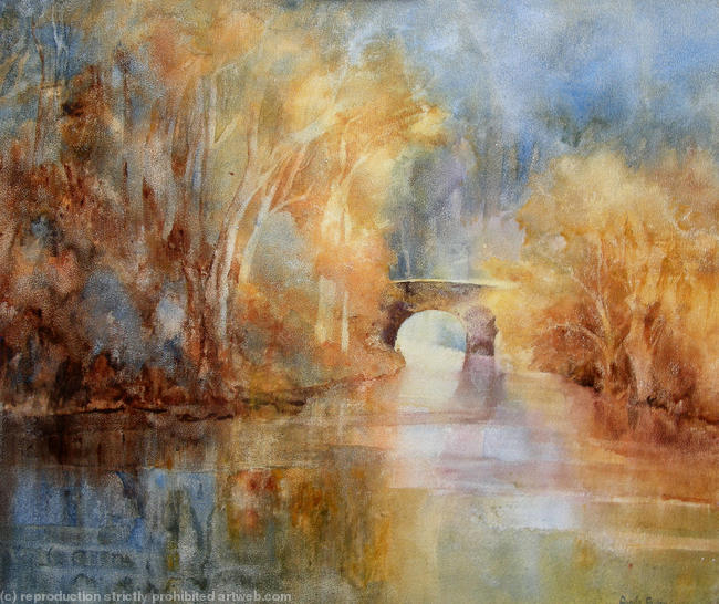 autumn flow watercolour on canvas 40x60cm