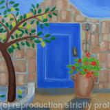 Blue Door with Lemon Tree - Oil on canvas