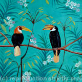 Indian hornbills - Oil on paper