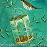 Gilded Cage with songthrush - oil on canvas board