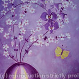 Purple orchids and blossom - Acrylic