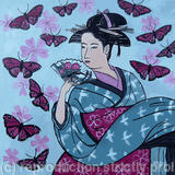 Giesha with butterflies - Acrylic and Indian ink on paper