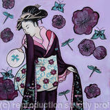 Geisha in purple - Acrylic and Indian ink on paper