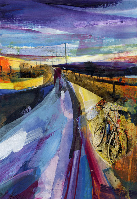 Sunset, Howarth Old Road Acrylic and mixed media on canvas 20x25cm