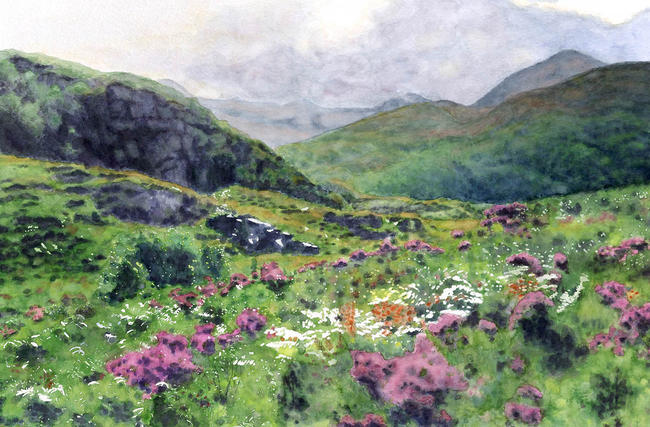 Highland Heather Giclée Watercolour Print 34x48cm