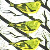 Siskins - linocut