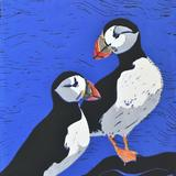 Puffins - reduction linocut