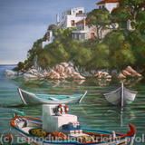 Fishing Boats in Skiathos Old Port - acrylics on canvas