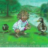 Feeding the ducks - chalk pastels on board