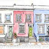 Nottinghill Cottages, London - pen and ink