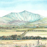 Snowdon from llanfaglan near Caernarfon North Wales - Print from a pen and pencil original on 300g high quality white greeting card 