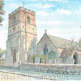 Trysull Church All Saints Staffordshire greeting/ thank you card - Print from a pen and pencil original on 300g high quality white greeting card