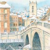 Bewdley Bridge and Church in the snow greetin/Christmas card - Printed on white hammered finish greeting card 300g