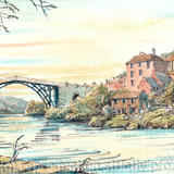 Ironbridge Sunset and the River Severn - Framed print on watercolour paper from pen, pencil and watercolour
