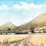 The Stretton Hills Near Church Stretton Shropshire, greeting card - Printed on white hammered finish greeting card 300g