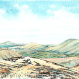 From the Long Mynd Nr Church Stretton on the Burway, greeting card - Print from a pen and pencil original on 300g high quality white greeting card 