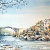 Ironbridge Shropshire winter - Print on white hammered finish greeting card