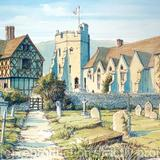Stokesay Castle Nr Craven Arms Shropshire - Print on white hammered finish greeting card