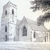 St Peters Church Kinver South Staffordshire ( Black & White) - Print from a pen and pencil original on 300g high quality white greeting card 