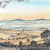 Abberley from Clee Hill at dawn, greeting card - Print from a pen and pencil original on 300g high quality white greeting card