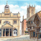 Ludlow Butter Cross Shropshire market town - Framed print on watercolour from pen, pencil and watercolour original
