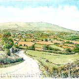 The road to Clee Hill from Hopton Wafers - Framed print on watercolour from pen, pencil and watercolour original