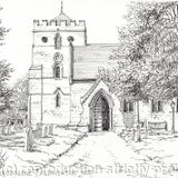Albrighton Church St. Mary Magdalene Shropshire ( black & White) - Black on White quality hammered finish card 300g supplied with matching envelope