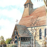 Tibberton Church Nr Worcester, greeting card - Printed on white hammered finish greeting card 300g