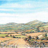 The Malvern Hills from near Colwell Green Worcestershire greeting card - Printed on white hammered finish greeting card 300g