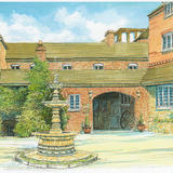 The Mill Hotel entrance Alveley Shropshire - Print on white hammered finish greeting card