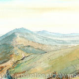 Malvern Hills on a misty day, greeting card - Printed on white smooth finish greeting card 180g