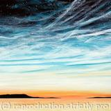 Cool sunset with noctilucent clouds and stars. Acrylic paint on stretched canvas - acrylic on stretched canvas
