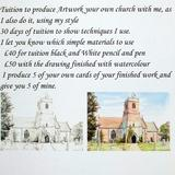 Tuition to produce pencil and pen drawing of a church of your choice for £40 - We will use pencil and pen on watercolour paper